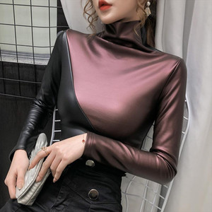 Autumn Plus size women blouse fashion patchwork colors turtleneck pullovers bottoming shirt velvet soft PU leather blouses tops