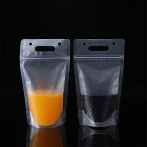 100pcs lot Clear Drink Pouches Bags Plastic Drinking Bag 450ml Transparent Self-sealed Plastic Beverage Juice Milk Bag