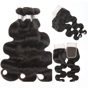 Body Wave Human Hair with Closure Brazilian Peruvian Indian Malaysian 4x4 Lace Closure with Bundles Remy Human Hair Wefts