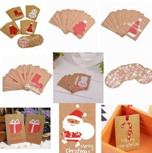 Cards Winter Festival Greeting Gifts Happy Holiday Card Invitations Decor Red Santa Hat Christmas Tree Snowflake DHE2026