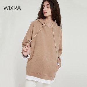 Wixra mulheres casual moletom quente veludo manga longa oversize hoodies tops outono inverno pulôver tops lj200811