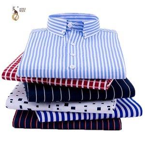 Aoliwen 2020 Men's Print Long Sleeve Shirt Plaid stripe fashion casual shirt men high street style Polyester Comfortable slimfit