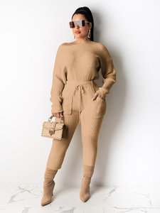 Echoine Solid Knit Ribbed Sexy Off Shoulder Tops and Pencil Pants with Pocket Two Piece Set Women Sporty Tracksuit Club Outwear