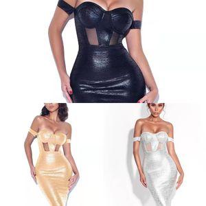 Deive Teger insubstituível fora do ombro preto prata prata bandagem vestido senhora bodycon lápis mulheres vestido vestidos 8279 y1224