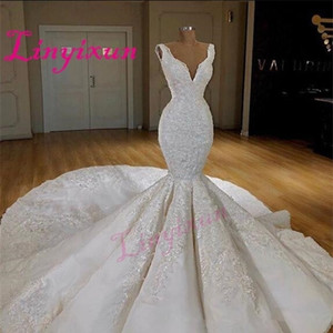 Dubai Sexy Corset Mermaid Dresses Deep V-Neck Sleeveless Lace Appliques Wedding Gowns Sweep Train Bridal Dress Q1113