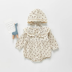 ANG INS New Baby Boys Girls Floral Rompers Lace Turn-down Collar Long Sleeve Jumpsuits with Hats 2pieces Set Newborn Baby Climb Clothes 0-2T