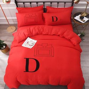 Set di biancheria da letto in cotone Lettera Stampata Flat Flat Duble Cover Cover Fodera Stile europeo Designer Solido Colore solido Set di biancheria da letto QUENN Dimensioni