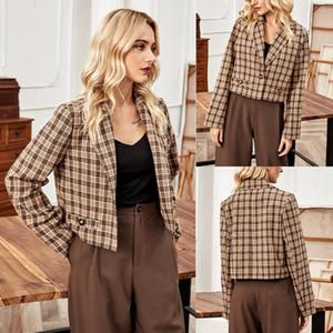 JAYCOSIN Women Autumn And Winter Plaid Suit Jacket Lapel Short Casual Suit Long Sleeve Top Single Button Plaid Blazer Women 2020