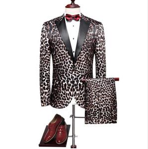 Jacket+Pants 2020 Spring High Quality Leopard Print Wool Wedding Suits Men,Casual Men's Dress Suits,Business Suits Blazers
