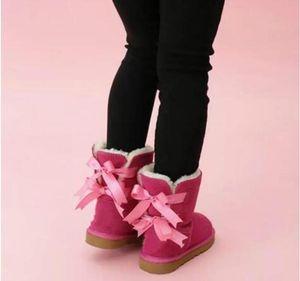 Çocuklar Bailey 2 Bows Çizmeler Hakiki Deri Toddlers Kar Botları Katı Botas De Nieve Kış Kız Ayakkabı Toddler Kızlar Çizmeler 777