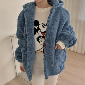 HziriP New Autumn Winter Plus Size Casual Faux Lambwool Coat Women Hooded Fur Jacket Loose Solid Thick Warm Coats Female