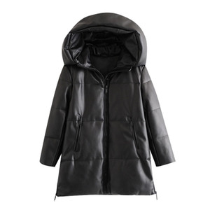 BBWM Frauen Winter Mode Dicke Warme Faux Leder Parkas Vintage Mit Kapuze Langarm Gepolsterte Jacke Weibliche Chic-Mantel 201127
