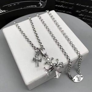 Cross Ancer Стерлинговое серебро Ожерелье для мужчин и женщин Мини Двойной кулон Европейская и американская ретро тайское серебряное ожерелье