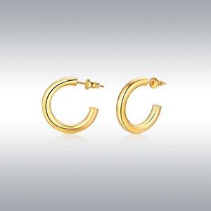14k goldfarbene leichte klobige offene Reifen | Goldreifenohrringe für Frauen