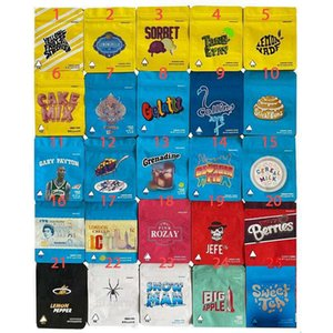3.5g Borse mylar 25types biscotti California Mylar Bags Balla Bacche Tè dolce Stickybuns Limone Pepper Jeef Geef Gelatti Sorbet Sorbet Cereal Bag