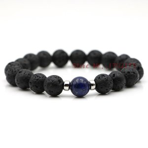 High Quality Men Lava Stone Bracelets Black Natural Powerful Male Wristband With Lapis Lazuli Bead Handmade Jewelry Bijoux