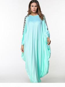 Summer Dresses Fashion Islamic Muslim Embroidery abaya Women batwing sleeve ladies Green robe high quality burka long dress
