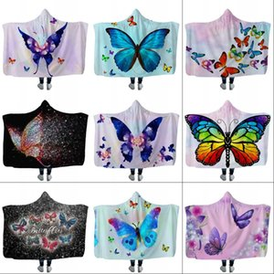 Plush Home Hooded Blanket Adult Child Washable Warm Sofa Cloaks Cap Butterfly Planet Printed Polyester Throw Blankets sea shipping DHB4703