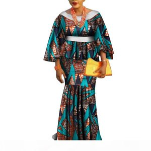 Africa Two Piece Set For Women Fashion Dashiki Lace edge African Clothes Bazin Plus Size Lady Clothing for Party WY3462