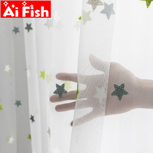 Green mesh towel Star screen tulle living children cartoon curtains balcony bedroom Sheer Curtains M065-40 Y200421