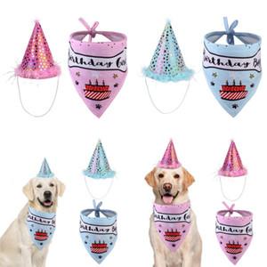 Pet Cat Dog С Днем Рождения Головные уборы Шляпы Saliva Полотенце Bib Партия Костюм ПЭТ Празднование Празднование Костюм Одежда 16 G2