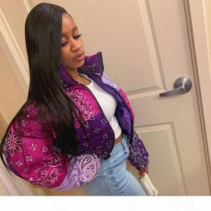 Women Vintage Puffer Jacket Bandana Print Bubble Coat Fashion Woman Parkas Winter Clothes Women 2020 Cropped Outwear