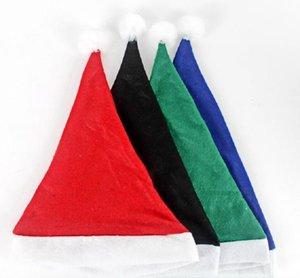 High-grade Christmas Hat Adult Christmas Party Cap Red Green Plush Hat for Santa Claus Costume Christmas Decoration Gift Wholesale