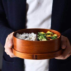 Japonais Bento Box 3 Lattices Boîtes de lunch ovale en bois Boîtes à lunch de la couche Single Couche pour l'école de bureau à domicile Pique-nique 33 99PT E1