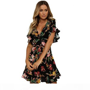 Women Summer Casual Dress 2018 Beach Dresses Women's Fashion Sundress Short Sleeved V-neck Print Dress Woman Clothing