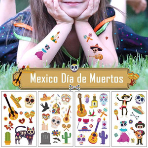 10PCS Small Cute Mexico Day of Dead Día de Los Muertos Temporary Tattoo Stickers for Kids