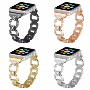 For Apple Watch Band Women Lady Diamond Band Strap for iWatch 44MM 40MM 42MM 38MM Stainless Steel Bracelet Be