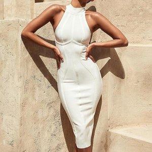 Beiläufige Kleider Sexy Frauen Weiße Verband Kleid Ankünfte Gestreifter Midi Bodycon Sleeveless Clubwear Party Vestidos1