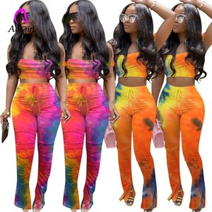Colorful Women 2 Pieces Stacked Pants Set 2020 Summer Tie Dye Print Flare Split Jogger Sweatpants Suit Sport Matching Set Outfit T200825