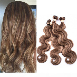 Piano 4 27 Mixed Color Brazilian Human Hair Body Wave Weave Bundles Brown Highlight Mix with Honey Blonde Piano Color Hair Extensions