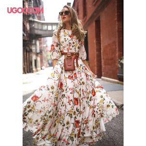 UGOCCAM Women Long Dress Floral Print Summer Autumn Dress Elegant Loose High Waist Party Dress Ladies Sundress Vestidos de festa Y200805