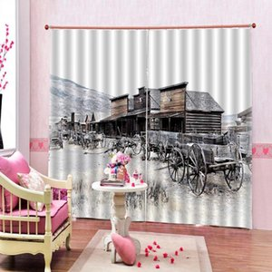Personality Natural Scenery Theme Window Curtain Snow Mountain Trees Wooden House Blackout Curtains For Living room bedroom