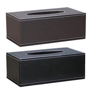 Simple PU Tissue Box Rectangle Paper Towel Holder Desktop Napkin Storage Case Kitchen Tissue Organizer for Home Office