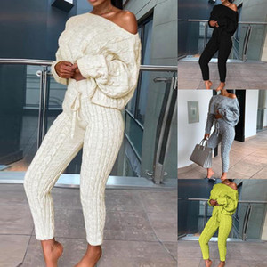 2020 New Womens Ladies Solid Off Shoulder Cable Knitted Warm Loungewear Set Autumn Sweater Women Sweater Winter Clothes Suit