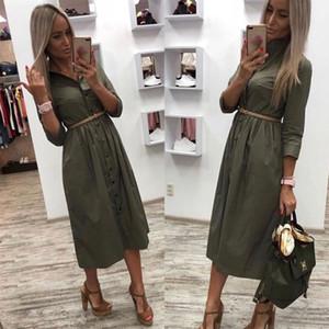 New Fashion Midi Dress Office Lady Casual Sashes A-Line Dress Ladies Seven Sleeve Turn-Down Collar Summer Dress Vestidos