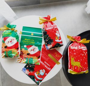 The latest 15X23.5CM size, Christmas food packaging bag ribbon drawstring bag candy biscuit drawstring pocket gift bag
