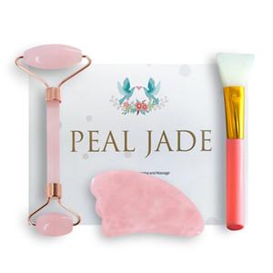 100% Natural Jade Beauty Skin Care Face Massage Roller Quartz Powder Crystal Gua Sha Stone Facial Body Eye Scraper Massager