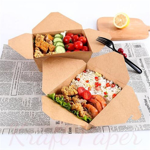 Takeaway Paper Disposable Fast Food Kraft Lunch Folding Rectangular Box Tearable Packing Boxes A02