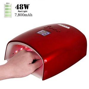 Lampe UV à ongle rouge rechargeable 48W LED lampe à ongles sans fil manucure Lampes de pédicure Lampe à ongles LED sans fil 201216