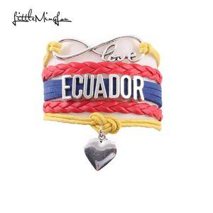 Little Minglou Infinity Love Ecuador браслет сердца шарм кожаные обертки мужчин браслеты браслеты для женщин ювелирные изделия в роль