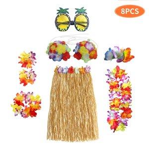 Hawaii Hula Dans Elbise 8 Parça Set Sandy Plaj Dans Giysileri Masquerade Firkete Gözlük Setleri Sıcak Satış 14 5ck L1