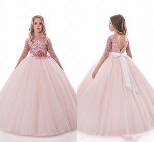 Blush Lace Backless Arabic Flower Girl Dresses Ball Gown Child Wedding Dresses Vintage Little Girl Pageant Dresses