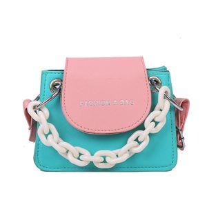 Contrast color mini bag womens handbags new fashion single crossbody bag chain small square bag women purse