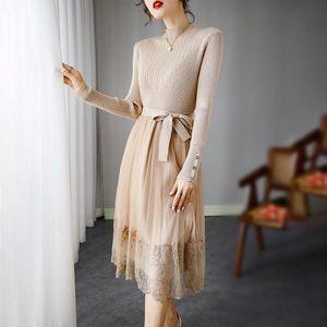 Elegante vestito di colore puro donne pizzo maglia patchwork maglione maglia vestito designer stile coreano ufficio signora dolce vestidos veste