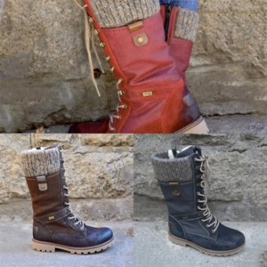 iKg ElegantBlack Winter Femme Knee Boots Red Bottom boots Women's Boot Fashion Genuine Leather With Spikes Bottes Heels