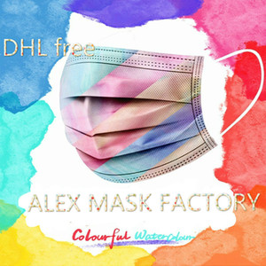 DHL Free Shipping Printing Colorful Spunlace Mask Thicken Windproof Protective Mask Disposable Mask with Meltblown Fabric
